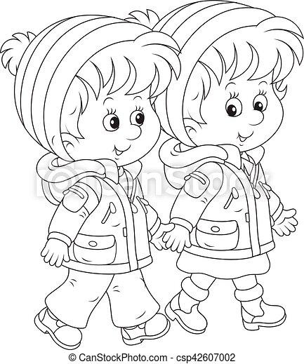 marche, petits enfants - csp42607002
