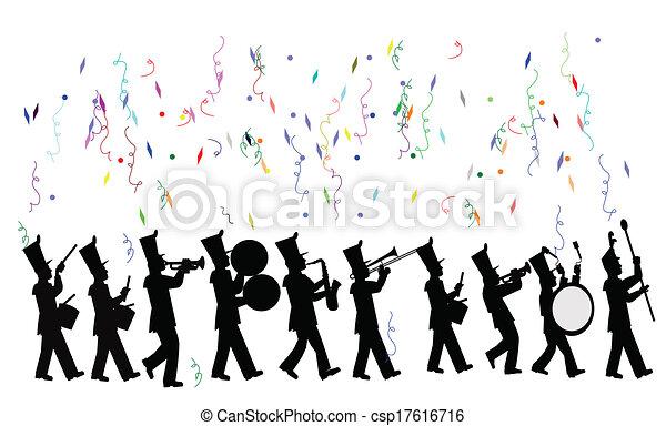 marcher, célébration, bande - csp17616716