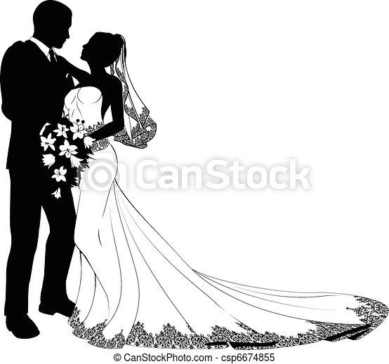 mariée, palefrenier, silhouette - csp6674855