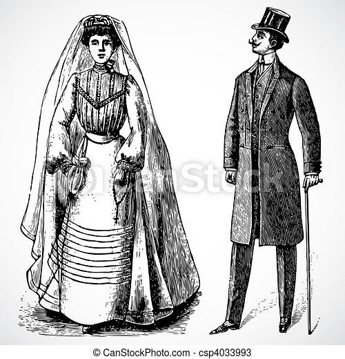 mariée, vendange, vecteur, palefrenier - csp4033993