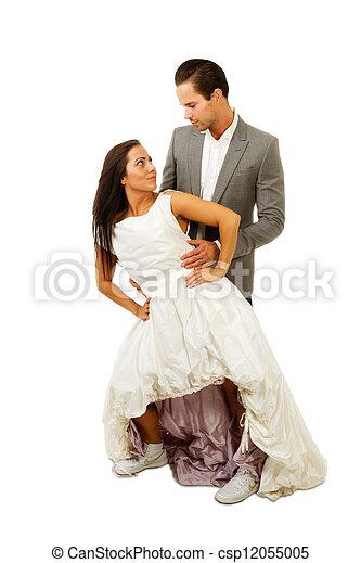 marier, couple, autre, chaque, récemment, fixer - csp12055005