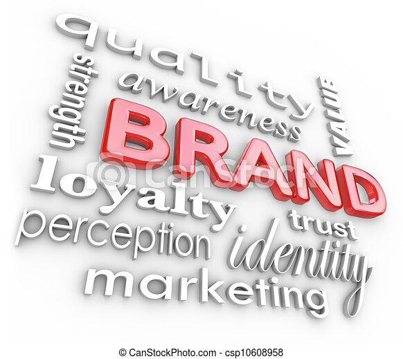 marquer, fidélité marque, mots, commercialisation, conscience - csp10608958