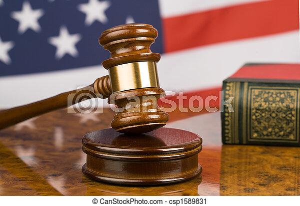 marteau, drapeau américain - csp1589831