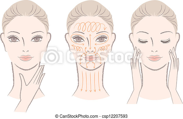 masser, femme, cou, elle, figure - csp12207593