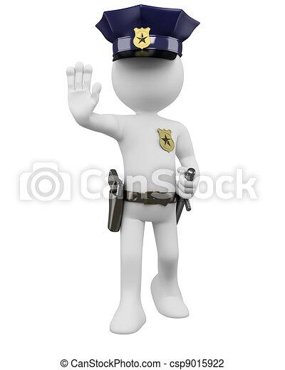 matraque, police, commander, arrêt, fusil, 3d - csp9015922