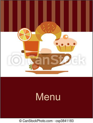 menu, petit déjeuner, savoureux, gabarit, conception - csp3841183