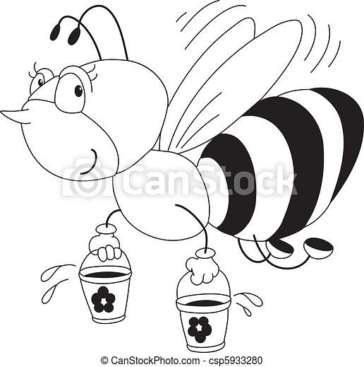 miel, esquissé, abeille - csp5933280