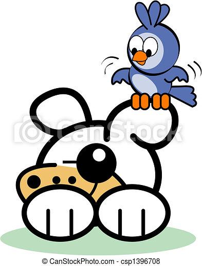 mignon, art, agrafe, chien, oiseau, dessin animé - csp1396708