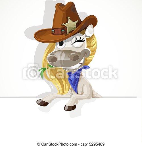 mignon, cheval, bannière, blanc, grand - csp15295469