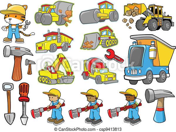 mignon, construction, vecteur, ensemble - csp9413813