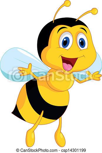 mignon, dessin animé, abeille - csp14301199