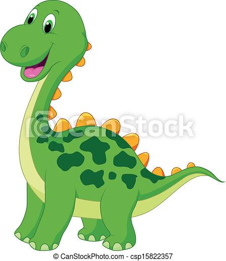 mignon, dessin animé, dinosaure, vert - csp15822357