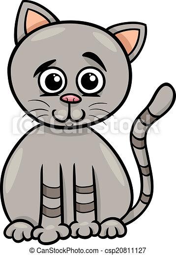 mignon, dessin animé, illustration, chat - csp20811127