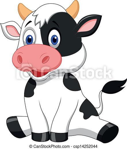 mignon, dessin animé, vache, séance - csp14252044