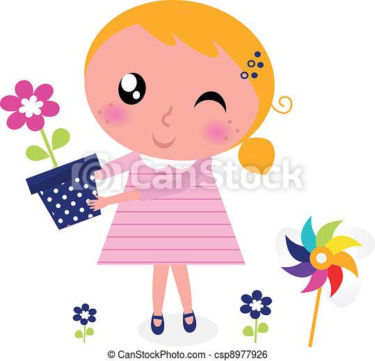mignon, fleur, printemps, isolé, girl, blanc - csp8977926