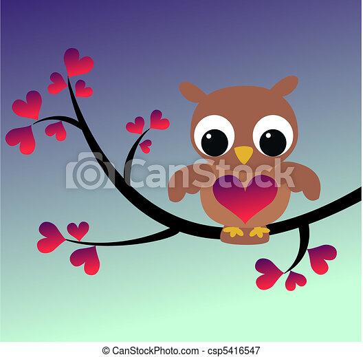 mignon, hibou, branche, séance - csp5416547