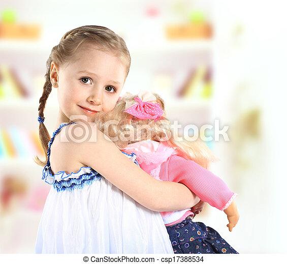 mignon, petite fille, poupée - csp17388534