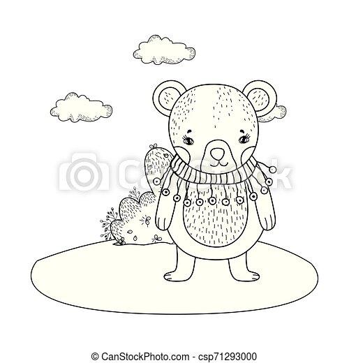 mignon, peu, camp, écharpe, ours - csp71293000
