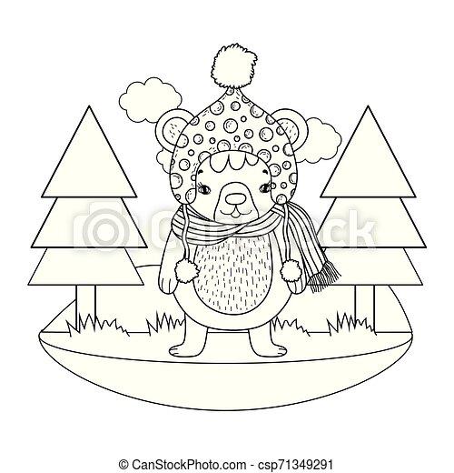 mignon, peu, camp, chapeau, ours - csp71349291
