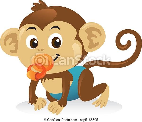 mignon, singe, pose., ramper, tétines, bébé - csp5166605