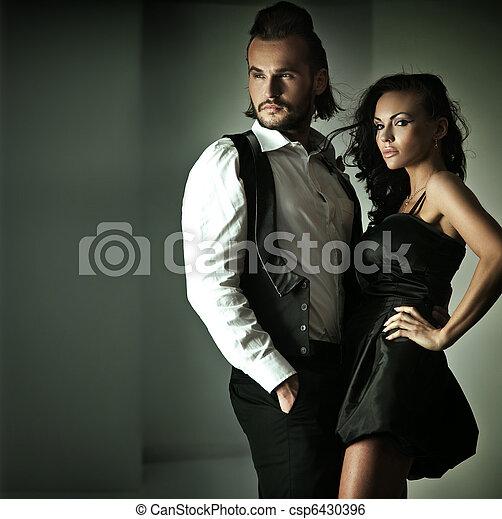 mignon, style, mode, couple, photo - csp6430396