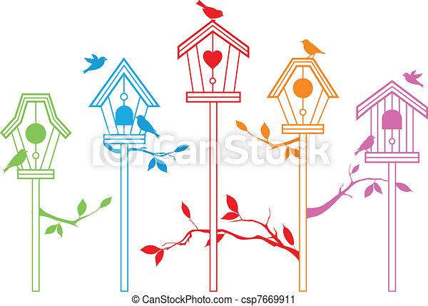 mignon, vecteur, oiseau, maisons - csp7669911