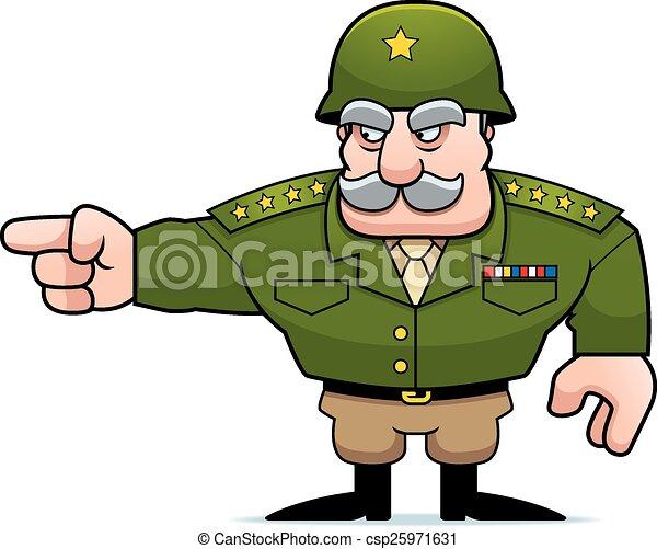 militaire, dessin animé, pointage, général - csp25971631
