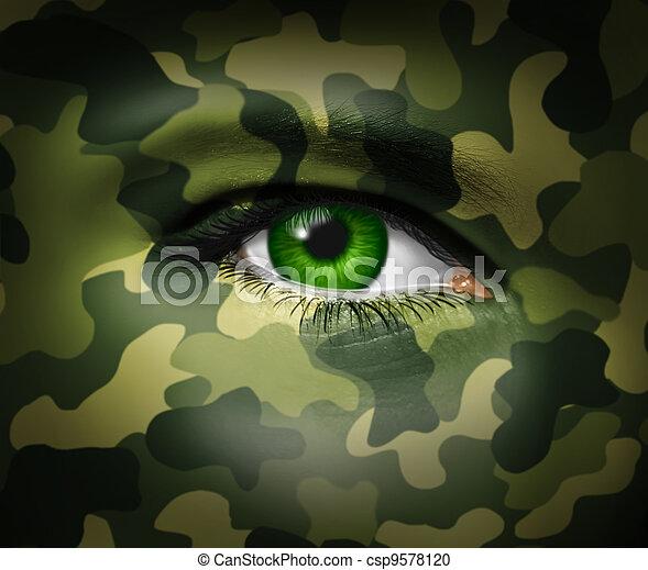 militaire, oeil, camouflage - csp9578120