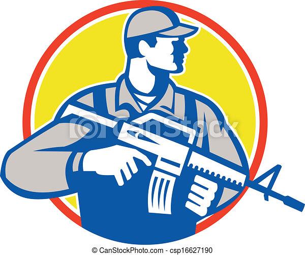 militaire, soldat, assaut, retro, fusil, militaire, côté - csp16627190