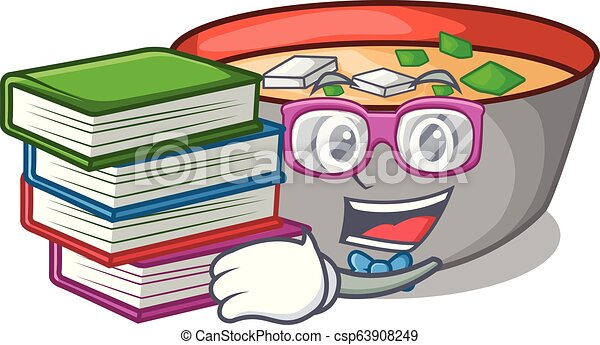 miso, étudiant, repas, soupe, livre, délicieux, dessin animé - csp63908249
