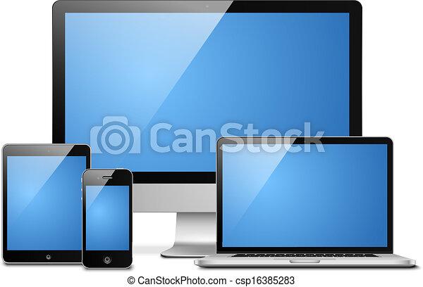 mobile, ordinateur portable, tablette, bureau - csp16385283