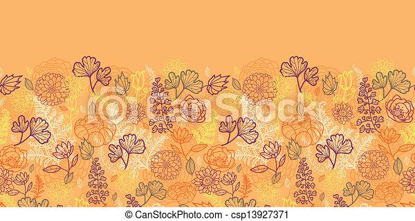modèle, feuilles, seamless, horizontal, fleurs, frontière, désert - csp13927371