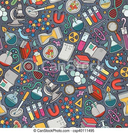 modèle, mignon, main, dessin animé, dessiné, science, seamless - csp40111495
