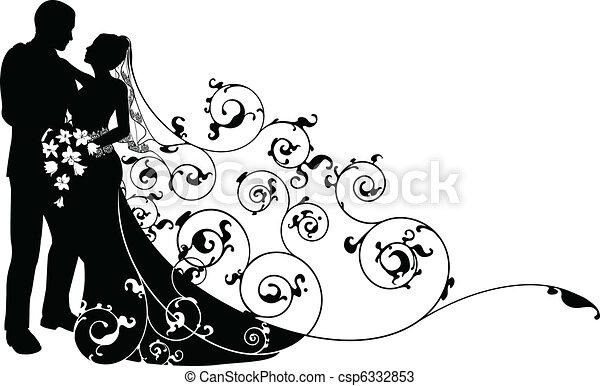 modèle, palefrenier, silhouette, fond, mariée - csp6332853