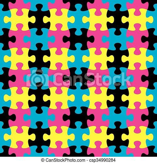 modèle, puzzle, puzzle, seamless - csp34990284