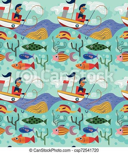 modèle, seamless, illustration, conception, bizarre, pêcheur - csp72541720