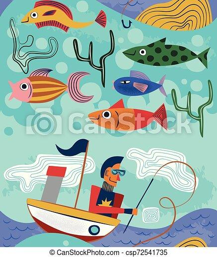 modèle, seamless, illustration, conception, bizarre, pêcheur - csp72541735