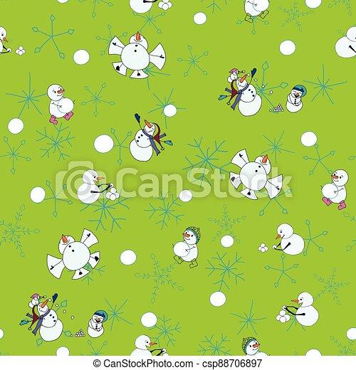 modèle, snowmen, neige, tempête neige, jour, boule de neige, vecteur, baston, arrière-plan vert, seamless - csp88706897