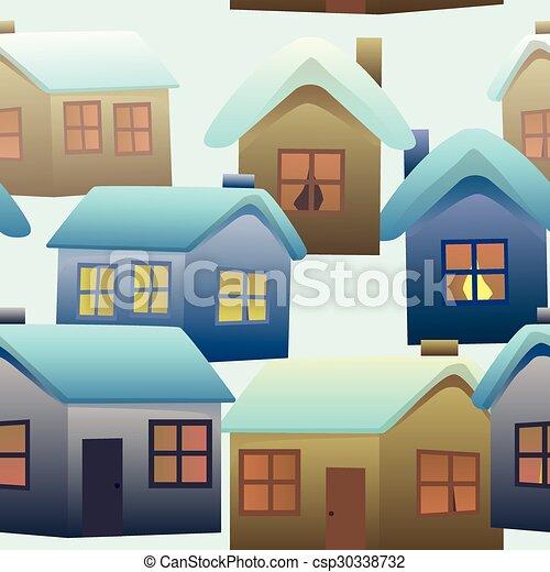 modèle, village, seamless, coloré, maisons - csp30338732