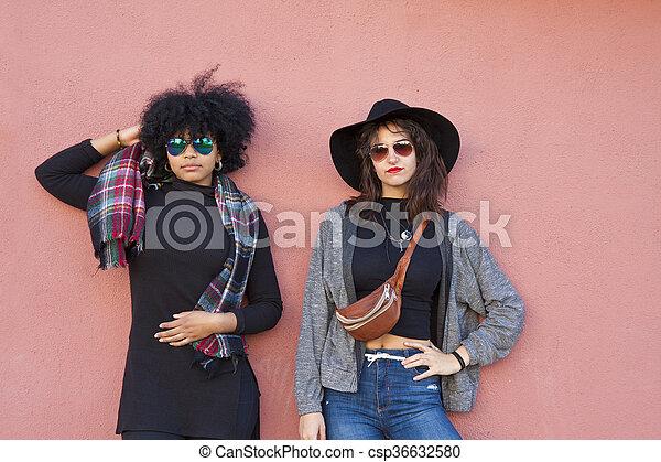 mode, filles, rue - csp36632580