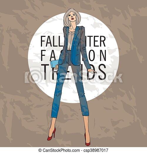 mode, hiver, tendances, croquis, automne, model. - csp38987017