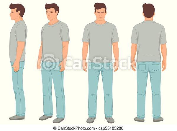 mode, isolé, dos, vue côté, devant, homme - csp55185280