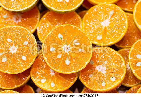 moitié, orange fraîche, coupure, produire, jus - csp77460918