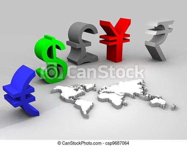 mondial, devises, illustration, commercer - csp9687064