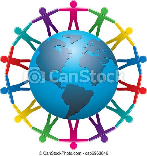 mondiale, autour de, gens - csp6963846