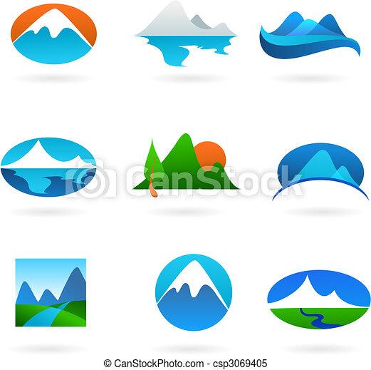 montagne, collection, apparenté, icônes - csp3069405