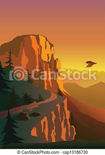 montagne, coucher soleil - csp13186730