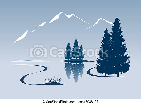 montagne, projection, illustration, stylisé, paysage rivière - csp16088107