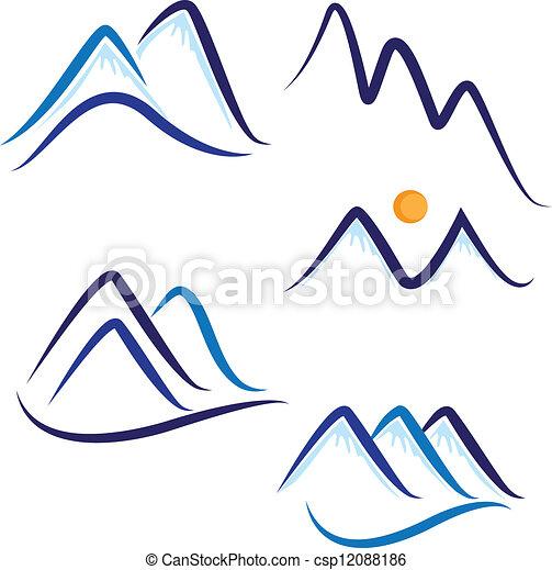 montagnes, neige, ensemble, logo, stylisé - csp12088186