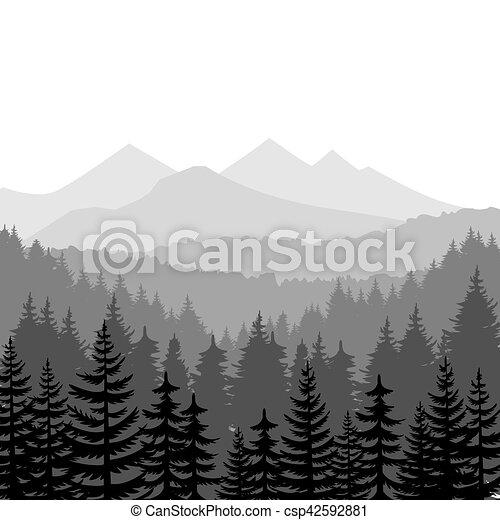 montagnes, vecteur, arrière-plans, forêt pin - csp42592881